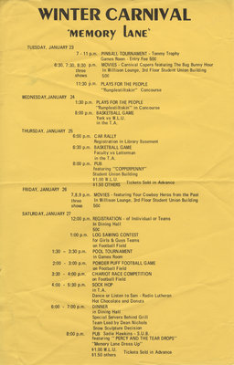 Waterloo Lutheran University Winter Carnival schedule, 1973
