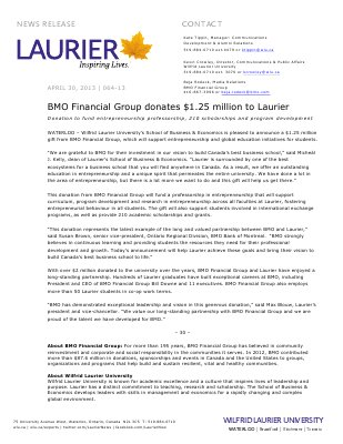 64-2013 : BMO Financial Group donates $1.25 million to Laurier