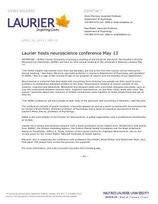 65-2013 : Laurier hosts neuroscience conference May 13