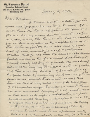 Letter from C. H. Little to Candace Little, January 5, 1916