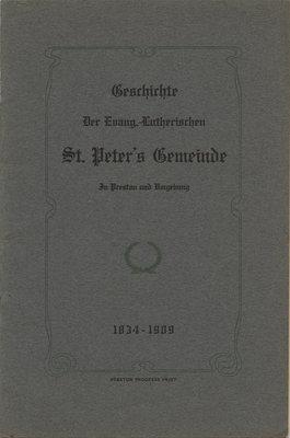 History of St. Peter's Evangelical Lutheran Church, Preston, Ontario, 1834-1909