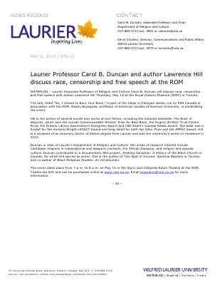 70-2013 : Laurier Professor Carol B. Duncan and author Lawrence Hill discuss race, censorship and free speech at the ROM