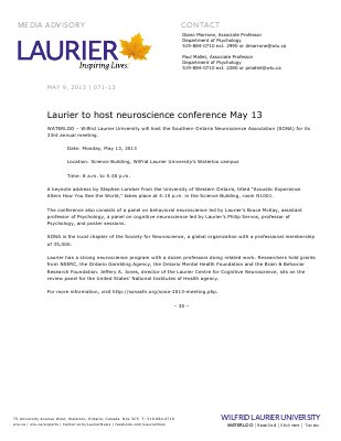 71-2013 : Laurier to host neuroscience conference May 13