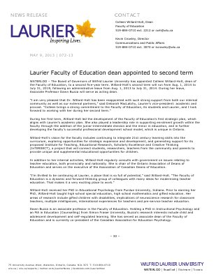 72-2013 : Laurier Faculty of Education dean appointed to second term
