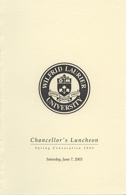 Wilfrid Laurier University Chancellor's Luncheon program, spring convocation 2003