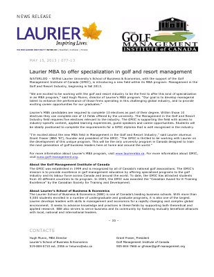 77-2013 : Laurier MBA to offer specialization in golf and resort management