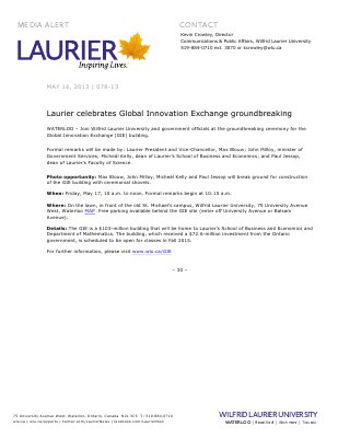 78-2013 : Laurier celebrates Global Innovation Exchange groundbreaking