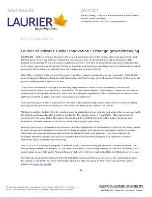 79-2013 : Laurier celebrates Global Innovation Exchange groundbreaking