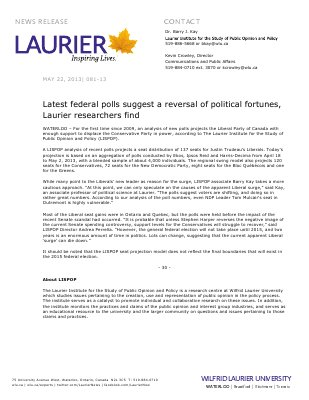 81-2013 : Latest federal polls suggest a reversal of political fortunes, Laurier researchers find