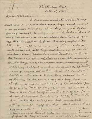 Letter from C. H. Little to Candace Little, December 11, 1917
