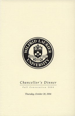 Wilfrid Laurier University fall convocation Chancellor's Dinner program, 2004