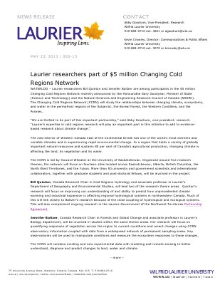 82-2013 : Laurier researchers part of $5 million Changing Cold Regions Network