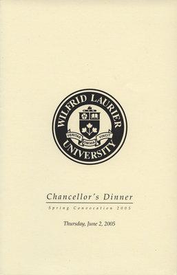 Wilfrid Laurier University spring convocation Chancellor's Dinner program, 2005
