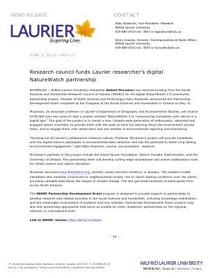 83-2013 : Research council funds Laurier researcher's digital NatureWatch partnership