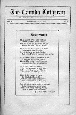 The Canada Lutheran, vol. 4, no. 6, April 1916