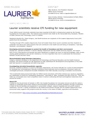 86-2013 : Laurier scientists receive CFI funding for new equipment
