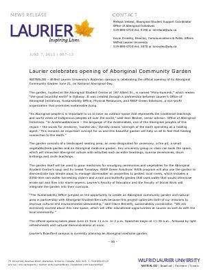 87-2013 : Laurier celebrates opening of Aboriginal Community Garden