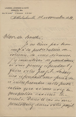 Letter from Wilfrid Laurier to Ulric Barthe, November 14, 1889