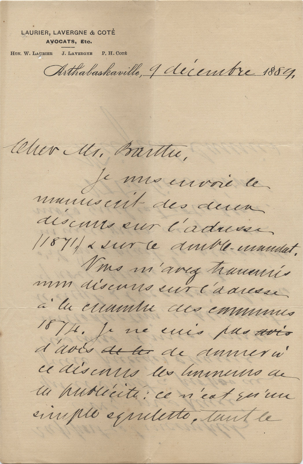 Letter from Wilfrid Laurier to Ulric Barthe, December 9, 1889
