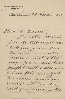 Letter from Wilfrid Laurier to Ulric Barthe, December 26, 1889