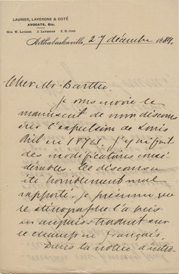 Letter from Wilfrid Laurier to Ulric Barthe, December 27, 1889