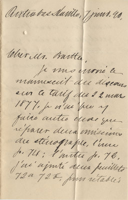 Letter from Wilfrid Laurier to Ulric Barthe, January 7, 1890