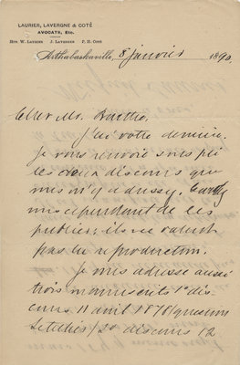 Letter from Wilfrid Laurier to Ulric Barthe, January 8, 1890