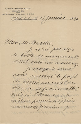 Letter from Wilfrid Laurier to Ulric Barthe, January 11, 1890