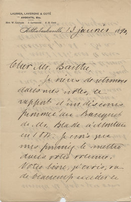 Letter from Wilfrid Laurier to Ulric Barthe, January 13, 1890