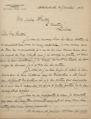 Letter from Wilfrid Laurier to Ulric Barthe, January 14, 1890