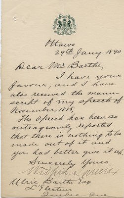 Letter from Wilfrid Laurier to Ulric Barthe, January 29, 1890