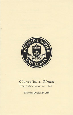 Wilfrid Laurier University fall convocation Chancellor's Dinner program, 2005