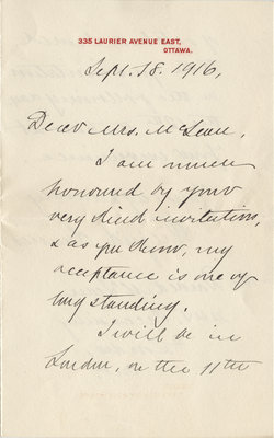 Letter from Wilfrid Laurier to Mrs. McLean, September 18, 1916