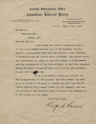"""Letter from Wilfrid Laurier to editor of """"News Record"""", September 17, 1913"""
