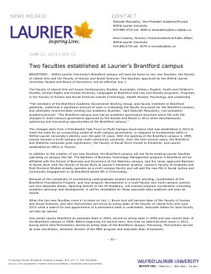 92-2013 : Two faculties established at Laurier's Brantford campus