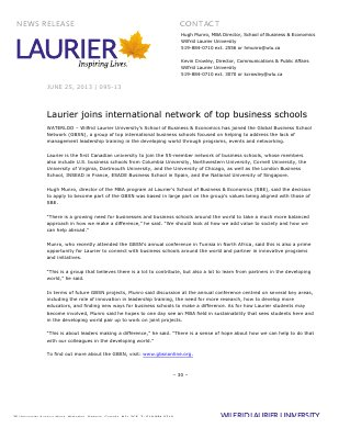 95-2013 : Laurier joins international network of top business schools