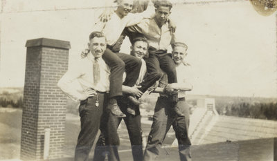 Students on Willison Hall roof
