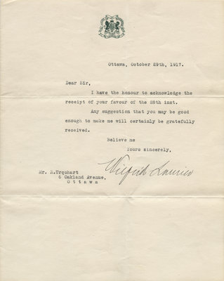 Letter from Wilfrid Laurier to R. Urquhart, October 29, 1917