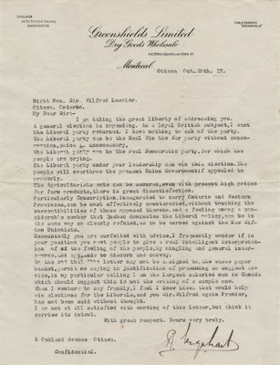 Letter from R. Urquhart to Wilfrid Laurier, October 28, 1917
