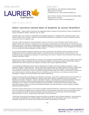 97-2013 : Adam Lawrence named dean of students at Laurier Brantford