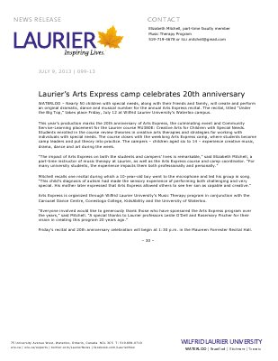 99-2013 : Laurier's Arts Express camp celebrates 20th anniversary