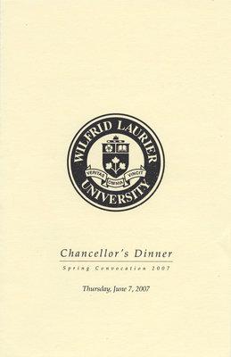 Wilfrid Laurier University spring convocation Chancellor's Dinner program, 2007