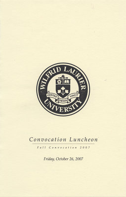 Wilfrid Laurier University fall Convocation Luncheon program, 2007