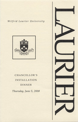 Wilfrid Laurier University Chancellor's Installation Dinner program, 2008