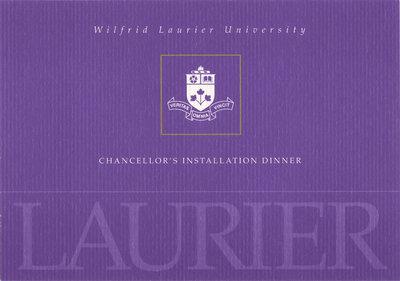 Wilfrid Laurier University spring convocation Chancellor's Installation dinner invitation, 2008