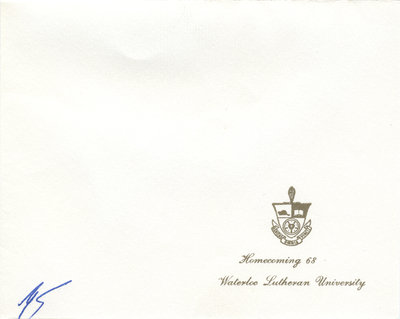 Waterloo Lutheran University Homecoming Formal invitation, 1968