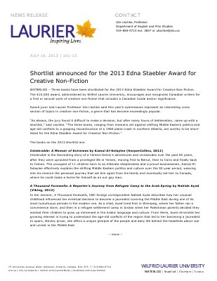 101-2013 : Shortlist announced for the 2013 Edna Staebler Award for Creative Non-Fiction