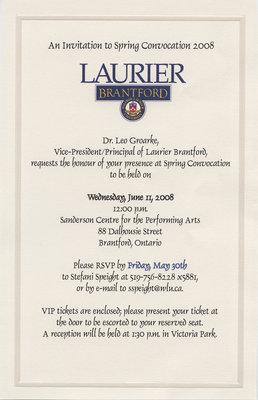 Laurier Brantford convocation invitation, 2008