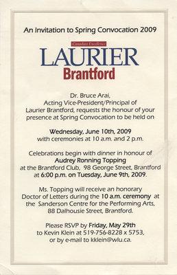 Laurier Brantford convocation invitation, 2009