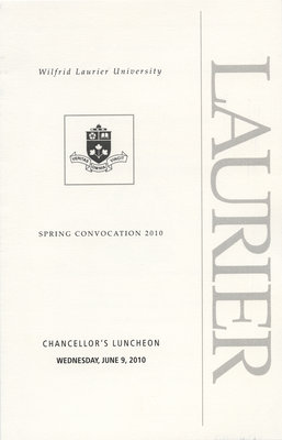 Wilfrid Laurier University Chancellor's Luncheon program, spring convocation 2010